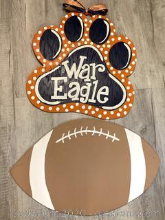 War Eagle & Football Wood Door Hangers