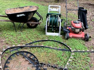Lawn & Garden Lot :Honda Push Mower and Wheel Barrow and Water Hose & Reel Court