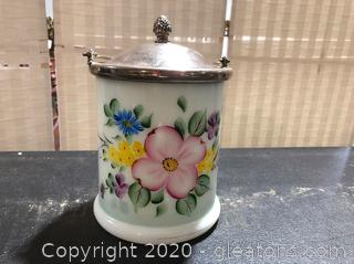 Vintage Porcelain Biscuit Barrell W/Silver Plated Lid and Handle.