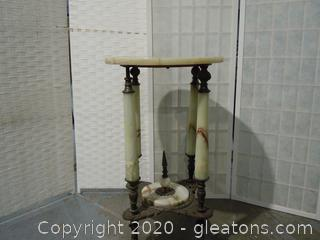 Antique Marble-Top Brass or Bronze-Look Utility Table