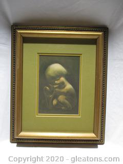 Infant With Baby Deer Painting