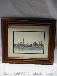 Beautiful City With Lake View Painting