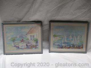 Pair Of Island Sailboat Dream Paintings.