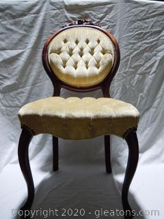 Velvet, Tufted Seats Side Chair with Flower Carving