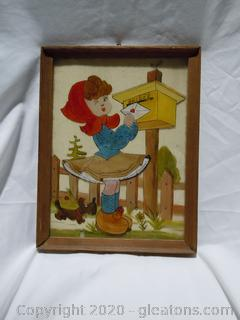 Vintage Little Girl At Mailbox Painting