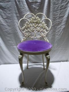 Metal Vanity Chair With Upholstered Seat