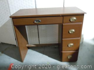 Vintage 5 Drawer Wooden Desk