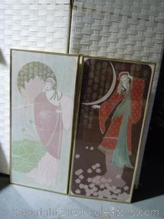 Pair Of Framed Wall Art-Women And Asian Symbols