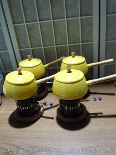 4 Vintage Fondue Pots