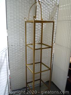3 Tier Metal/Glass Accent Shelving Unit