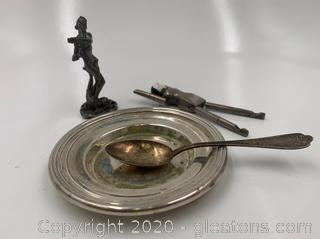 Silver Plated Seaman Figurine and Coin Dish