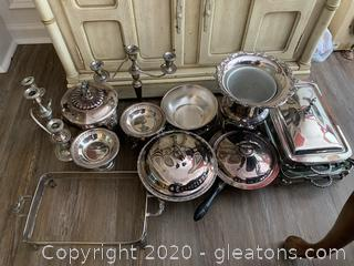 (A) Assortment of Silver/Silver Plated Serving Dishes