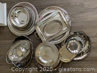 (B) Assortment of Silver/Silver Plate Dishes ,Plates, Trays