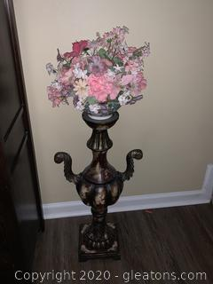 Pedestal with Handpainted Bowl Flower Arrangement
