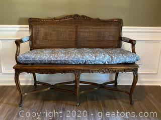 Vintage Wood Settee with Cane Back and Seat