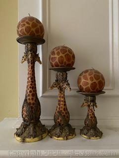 Set of 3 Giraffe Candle Holders