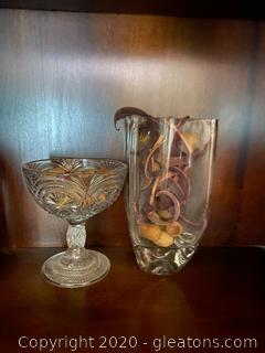 Glass Vase And Dish