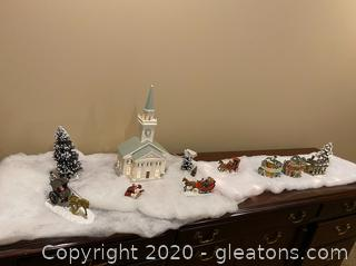 Collection of Holiday Figurines w/ Light up Faux Snow