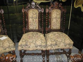 Pair of Oak 19th Century Italian Renaissance Parson Chairs