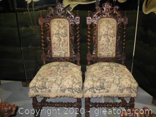 Pair of Oak 19th Century Italian Renaissance Parsons Chairs