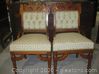 Antique French Provencial Pair of Side Chairs (B)