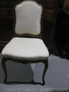 Side Chair with Leatherette Upholstery and Nail Head Trim