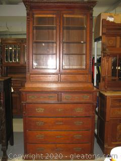 Tall Antique China Cabinet with lots of Storage