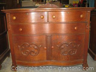 Antique Dark Oak Sideboard With 2 Pieces. Mirror Back.