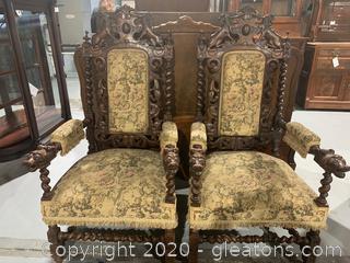 19th Century Italian Renaissance Arm Chairs