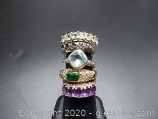 Five Sterling Silver Fashion Rings W Stones