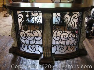 Beautiful Half Moon Sofa Table with Ornamental Design