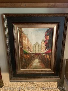 Framed Wall Hanging Canvas (Street Scenery)