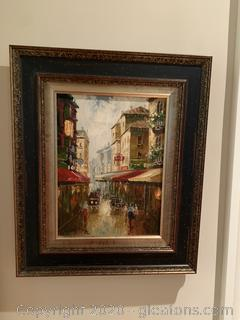 Framed Street Canvas Wall Hanging