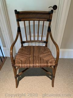 Wood Arm Chair with Woven Seat & Back