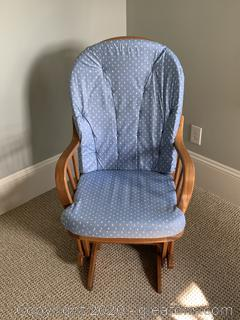 Glider Chair with Blue Cushions