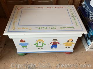 Handpainted Toy Chest and Toys
