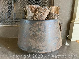 Large Metal Tub Filled w/ Wood