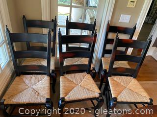 Black Farmhouse Dining Chairs w/ Rush Seats