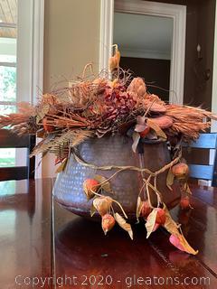 Decorative Floral Arrangement in Distressed Metal Pot