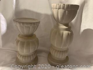 Pair Of Hand Glazed Candle Holders