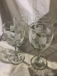 Checkerboard Etched Wine Glasses