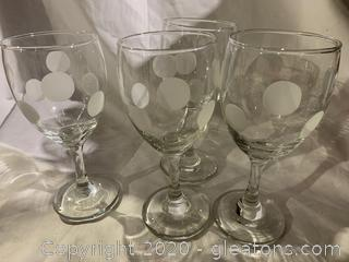Polkadot Etched Wine Glasses