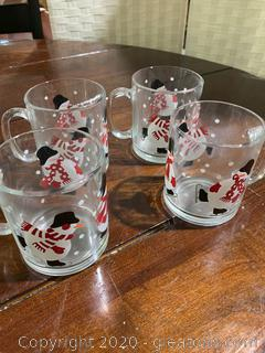 Luminare Snowman Etched Glass Mugs (C)