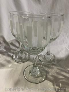 Stripe Etched Wine Glasses