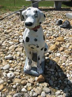 Concrete Dalmatian with Red Collar