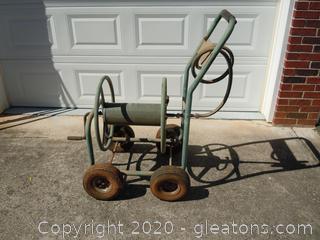 Vintage Water Hose Reel on Wheels