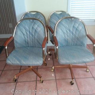 Lot of 4 Vintage Mid Century Chromecraft Chairs