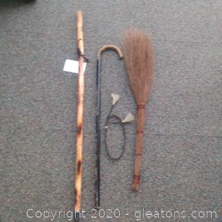 2 Walking Canes and a Vintage Broom