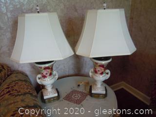 Pair of Vintage Porcelain Lamps (Urn Shape) W/Shades