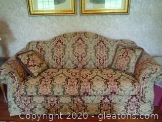 Vangard Camelback Sofa and 2 Pillows